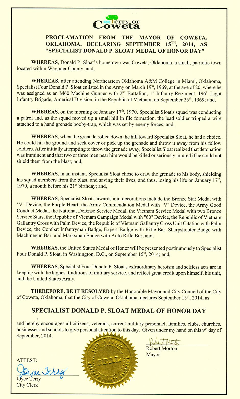 Proclamation from the Mayor