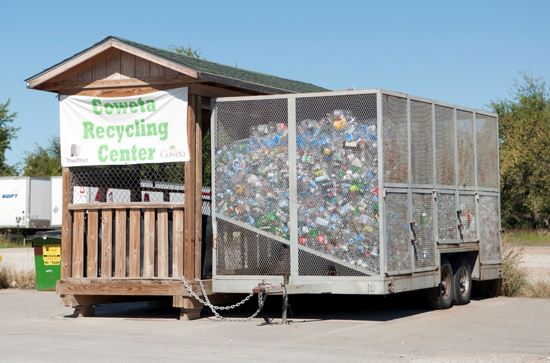 Coweta Recycling Center and Trailer with Plastic Bottles