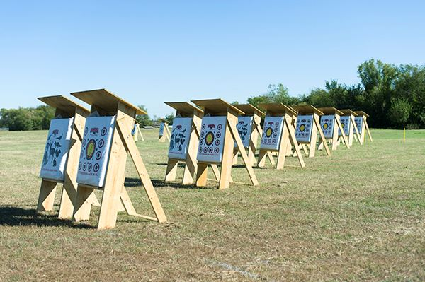 A row of archery field targets